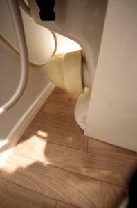 壁排水のため、トイレ排水の高さの注意が必要