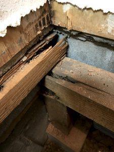 床を支える木材が腐食しています。